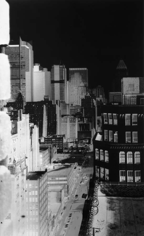 "Vera Lutter, 545 8th Avenue, looking North: February 10, 1994, unique silver gelatin print, 66 x 42"". Courtesy of the artist and Gagosian Gallery, New York."